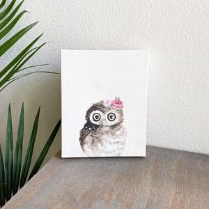 flower owl canvas art